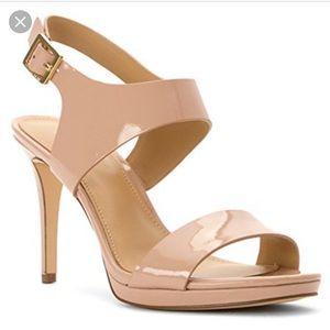 MICHAEL KORS Claudia mid blush patent leather heel